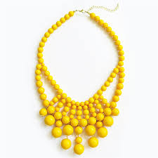yellow necklace images Retro bauble necklace statement bib necklace with yellow beads jpg