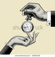 hands man woman retro pocket watch stock illustration 496005259