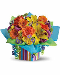 50th birthday flowers and balloons rainbow present calgary flowers delivery
