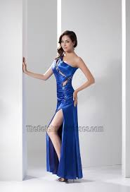 royal blue cut out one shoulder evening dress prom gown