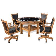 Poker Table Chairs With Casters by 5 Piece Reversible Top Game U0026 Dining Table Set By Sunny Designs