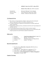 Subway Resume Sample by Resume