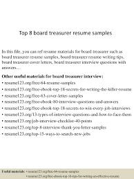 Underwriter Resume Sample Top8boardtreasurerresumesamples 150528232603 Lva1 App6892 Thumbnail 4 Jpg Cb U003d1432855685