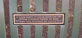 kathleen ishiara memorial bench alba park medford oregon
