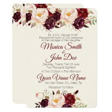 invitations for weddings marsala burgundy watercolor wedding invitation marriage