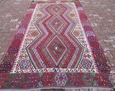 Kilim Area Rug Large Vintage Silk Turkish Kilim Area Rug 9 9 X 6 6 By