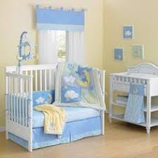Moon Crib Bedding Blue And Yellow Baby Crib Bedding Set With Appliques And