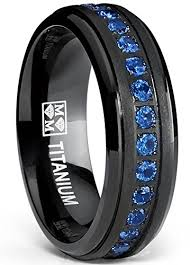 black titanium black titanium men s eternity ring band with blue