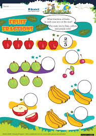 fruit fractions math worksheet for grade 3 free u0026 printable