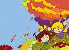 imagenes animadas de otoño niños de dibujos animados jugando otoño foto de stock