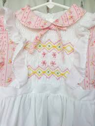 size 6 smocked dress white pinafore and pink calico tie sash