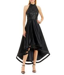 nicole miller new york sequin lace high low halter dress dillards