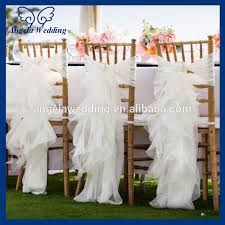 ruffled chair covers ch010a wholesale cheap chiffon and organza white ruffled wedding