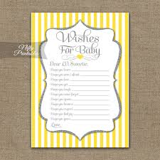 printable wishes for baby shower yellow gray silver