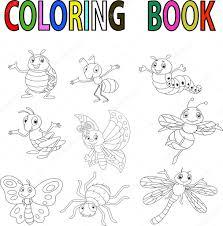 Livre de coloriage insectes de drôles de dessin animé  Image