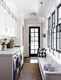 laundry room with white walls and bench good paint colors for