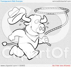cartoon clipart of a black and white rodeo buffalo running with a