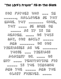 lord u0027s prayer fill in the blank coloring page homeschool bible