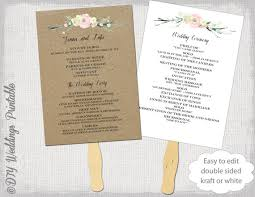 wedding ceremony fans wedding program fan template rustic flowers diy kraft or white