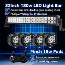 30 led light bar combo 32inch 30 led light bar spot flood combo 4 cree pods fog 4x4 suv