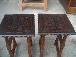 Leather Top Coffee Table Hand Made Square Accent Table With Tooled Leather Top By