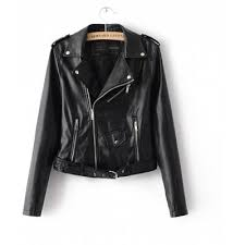 Black Zipper Pu Basic Jacket Coat Classic Leather Jacket Women