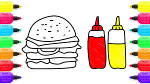 coloring pages hamburger and sauce drawing fast food art