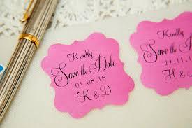 100 Pink Printed Save The Date Seals Custom Printed Wedding
