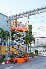 Scissor Lift Hunting Blind Dangerous Job Stock Photos U0026 Pictures Royalty Free Dangerous Job
