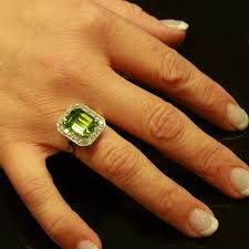 big old rings images Magnificent platinum art deco engagement ring with big peridot and jpg