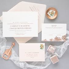 delicate rose gold wedding invitations banter and charm