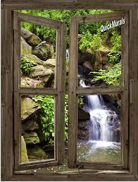 waterfall cabin window 3 peel stick 1 piece canvas wall mural