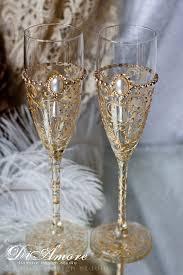 special item gold deco gatsby style wedding chagne flutes