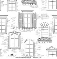 window pattern different architectural style windows stock vector