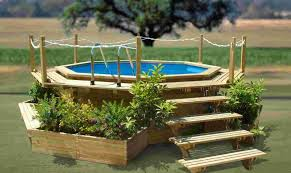Above Ground Pool Ideas Backyard Pool Good Looking Backyard Landscaping Decoration Using Round
