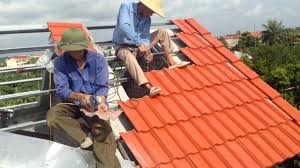 House Construction Dangerous Clay Roof Tiles Installation