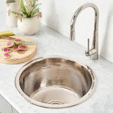 hammered nickel bathroom sink redondo grande copper bar sink cps251 native trails