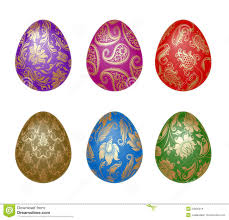 easter ornaments set of easter eggs with ornaments stock vector illustration of