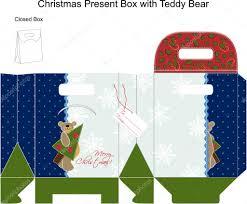 template christmas gift box with teddy bear u2014 stock vector