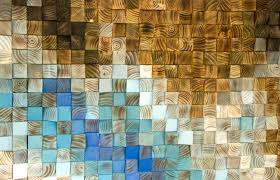 large wood wall wood mosaic geometric 24 x 108