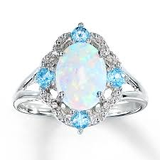 Opal Wedding Rings by Kay Lab Created Opal Ring Blue Topaz U0026 Diamonds Sterling Silver