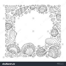 seashell border frame ocean pattern vector stock vector 410113297