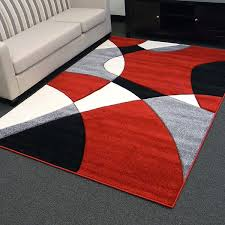bedroom red contemporary area rugs square black white blocks