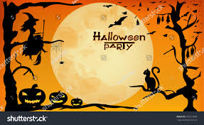 halloween background witch moon halloween party design witch pumpkins spider stock vector