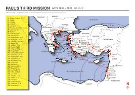 Corinth Greece Map by A Map Showing The Apostle Paul U0027s Third Missionary Journey Acts 18