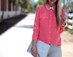 blouse tumbler blouse pink pink shirt shirt neon pretty thin colar