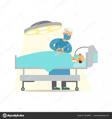 surgeon operating on unconcious patient in surgery room hospital
