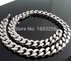 titanium curb chain necklace images Shiny 12mm high polished stainless steel silver tone curb chain jpg