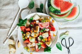 summer watermelon tomato panzanella salad u2014 healthfully ever after
