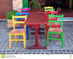 Multi Coloured Chairs by Multicolored Chairs In Outdoor Greek Restaurant Crete Greece